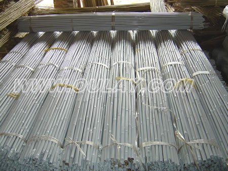 White plastic coated bamboo