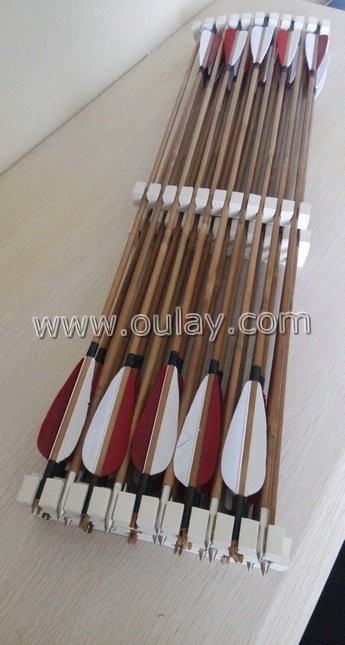 white and red bamboo arrows