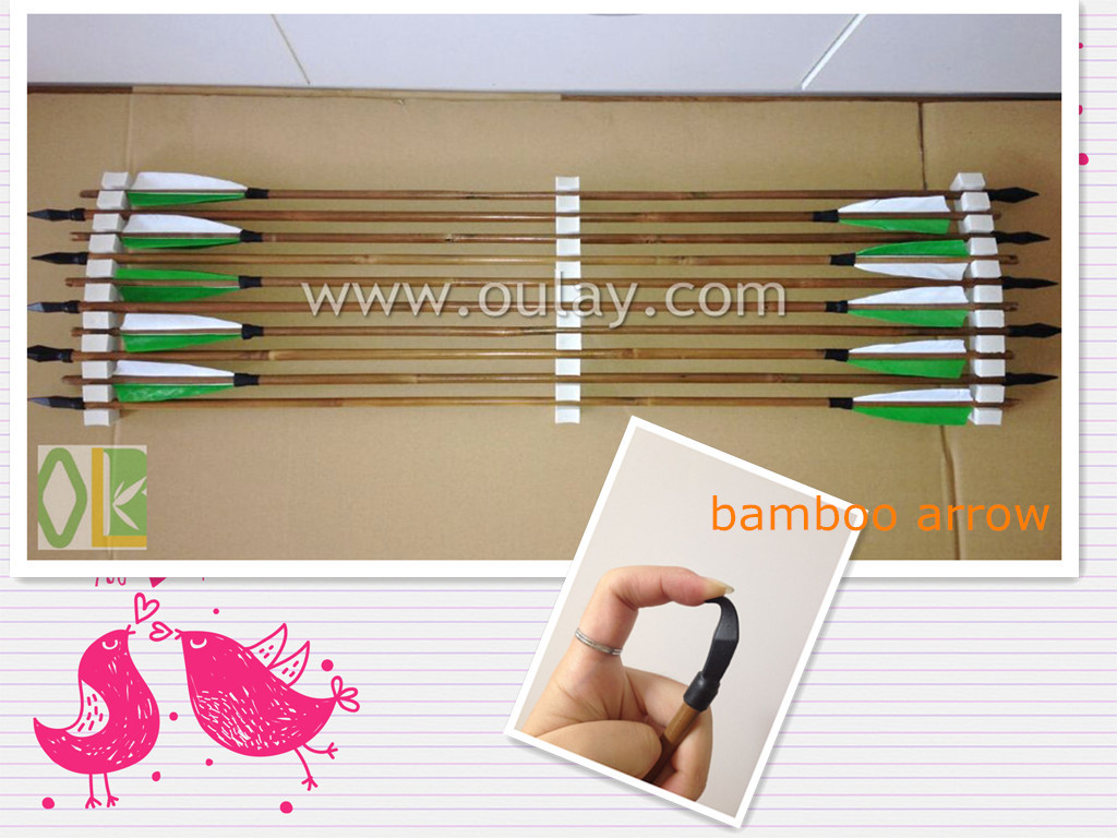 Archery arrow of bamboo arrow shafts and rubber broadheads