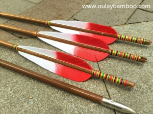 Red And White Mixed Colors Turkey Feathers Bamboo Arrows