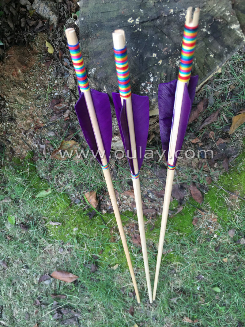 Complete Cedar Arrows With Purple Fletchings