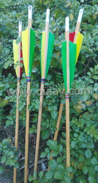 bamboo wooden arrows with 4 inch barred fletchings