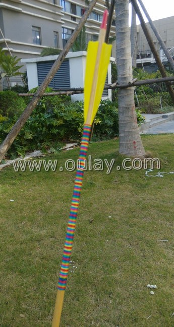 bamboo wooden arrows twined colorful strings