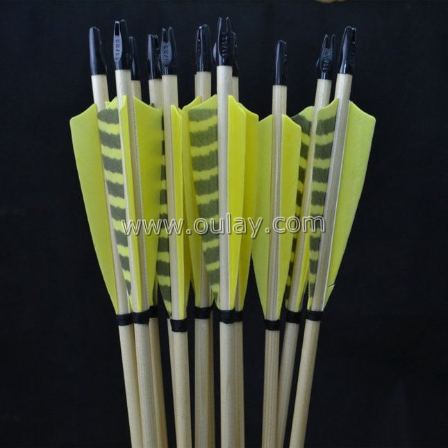 yellow striped wooden arrows