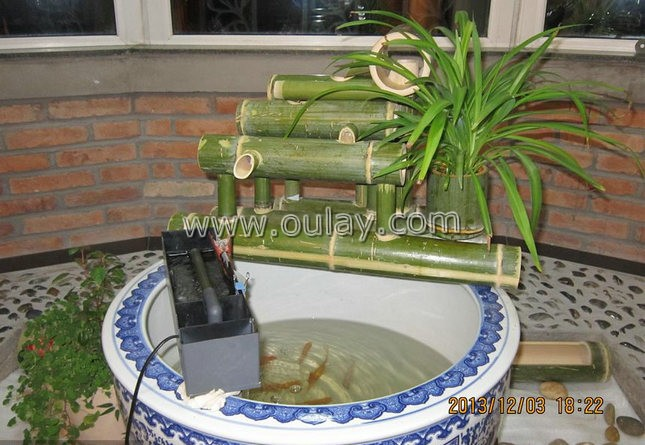 green bamboo garden water fountains /water spouts