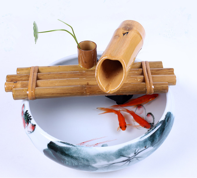 Bamboo water spouts decor home ,office