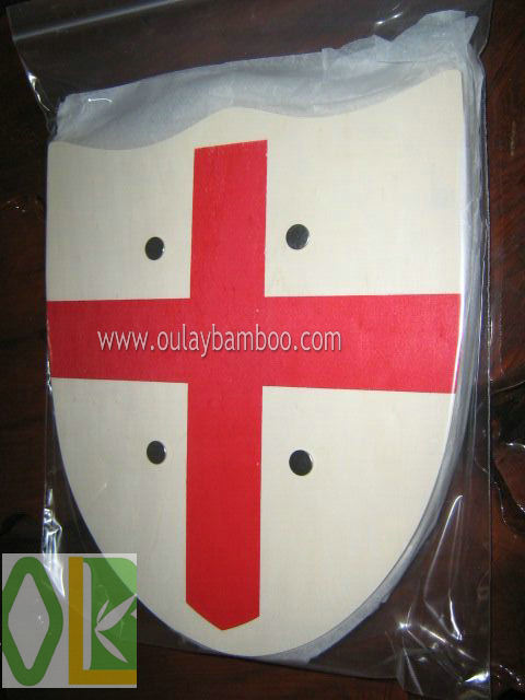 Handmade Custom red cross kid toy wooden shield